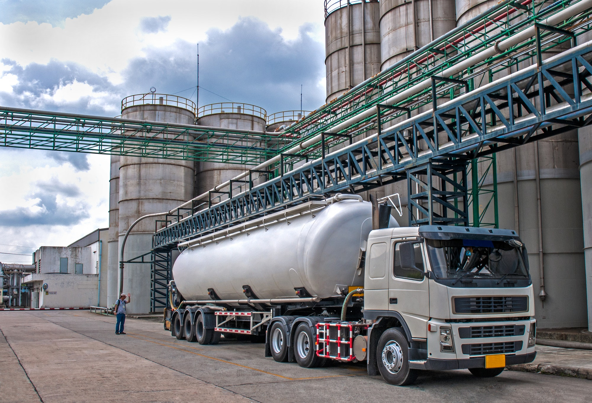 Truck Delivery Danger Chemical in Petrochemical Plant
